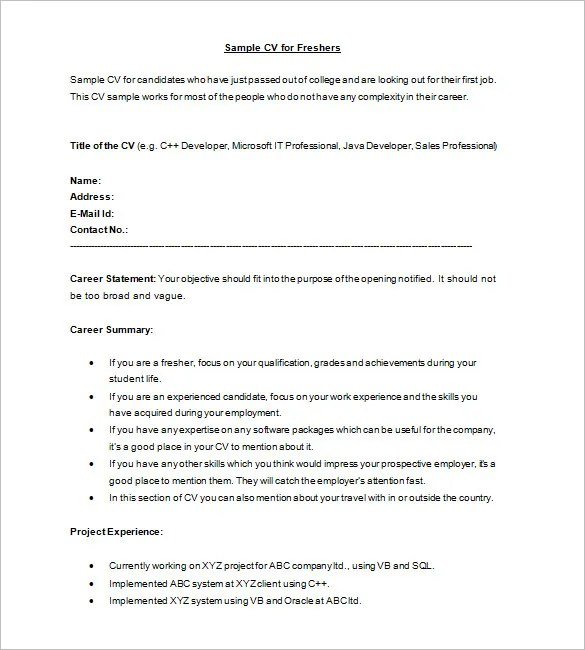 16+ Resume Templates for Freshers - PDF, DOC Free  Premium Templates - How To Write A Cv Resume