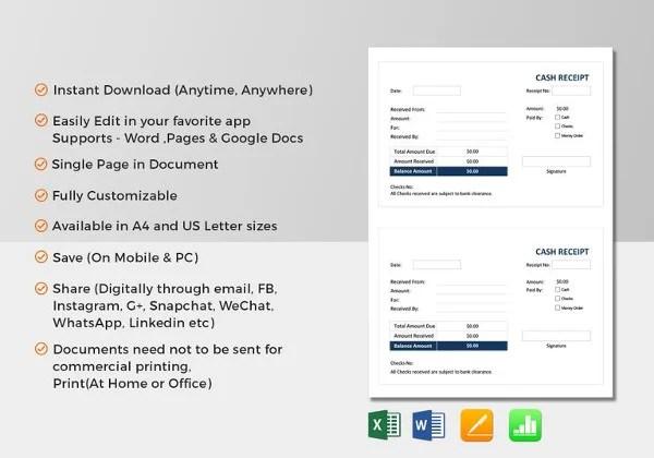 Sales Receipt Template - 27+ Free Word, Excel, PDF Format Free - cash sales receipt