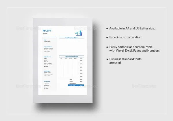 Invoice Receipt Template - 17+ Free Word, Excel, PDF Format Download - word receipt template