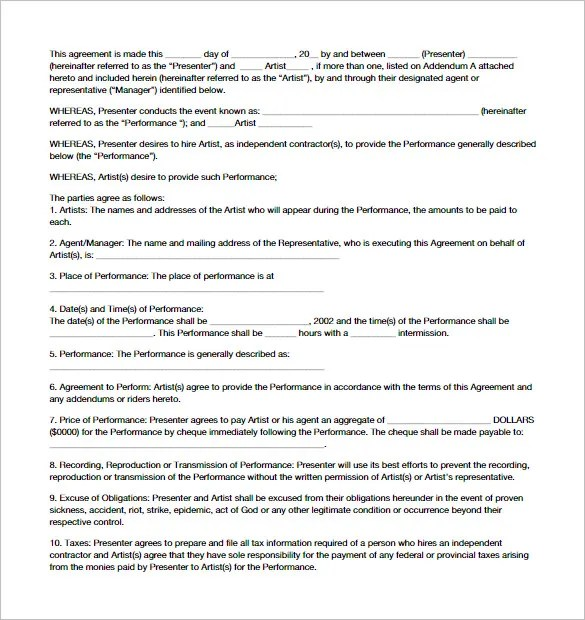 11+ Booking Agent Contract Templates \u2013 Free Word, PDF Documents - agent contract template