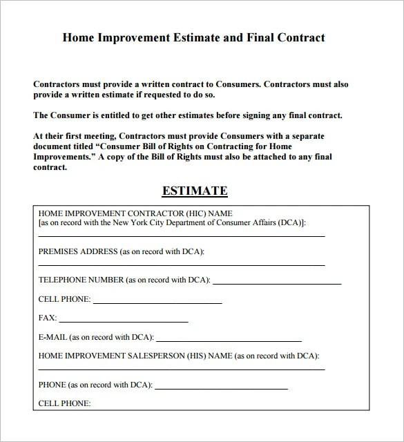 6+ Contractor Estimate Templates - PDF, DOC Free  Premium Templates