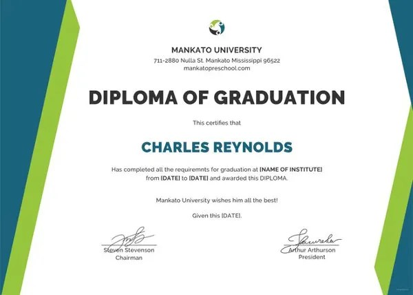 9+ High School Diploma Certificate Designs  Templates - PSD, AI