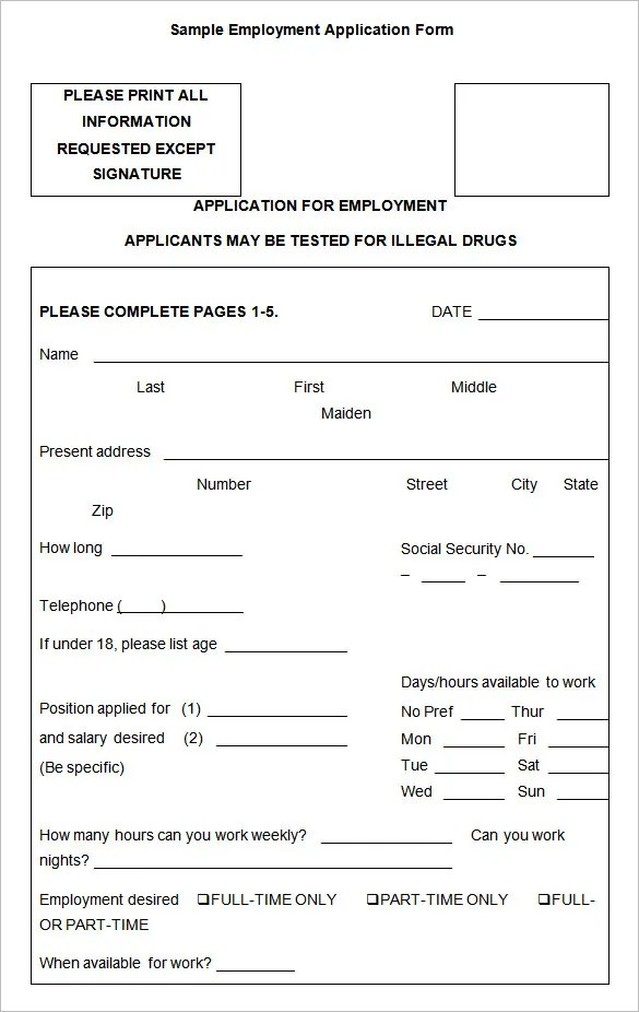 Sample Employment Application Form Generic Job Application - employment application word template
