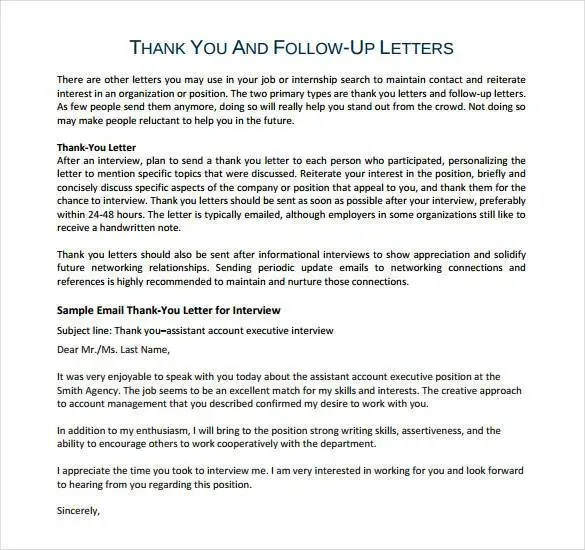Thank You Letter After Phone Interview - 17+ Free Sample, Example - follow up letter after resume