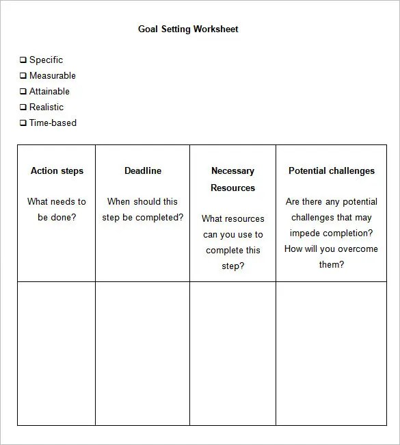 8+ Goal Setting Worksheet Templates \u2013 Free Word, PDF Documents - goal setting templates