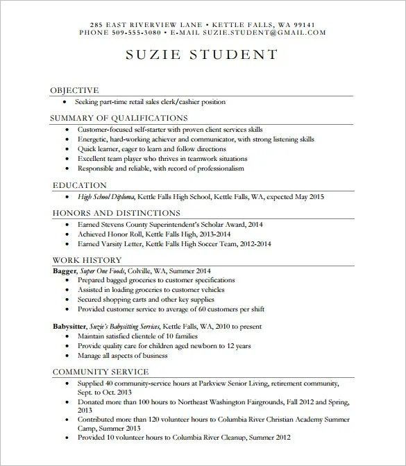 9+ Sample High School Resume Templates, Samples, Examples Free - resume templates high school graduate