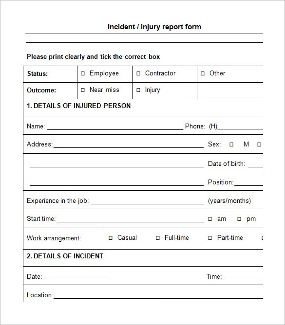 employee incident report form template - Maggilocustdesign - Incident Reporting Form