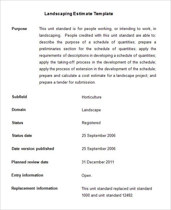 6+ Landscaping Estimate Templates u2013 Free Word, Excel \ PDF - service quote template