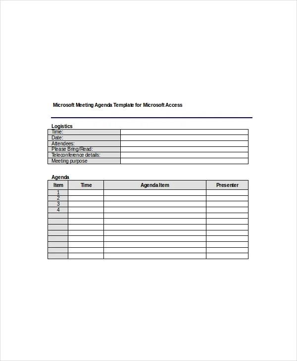 12+ Microsoft Meeting Agenda Templates \u2013 Free Sample, Example Format