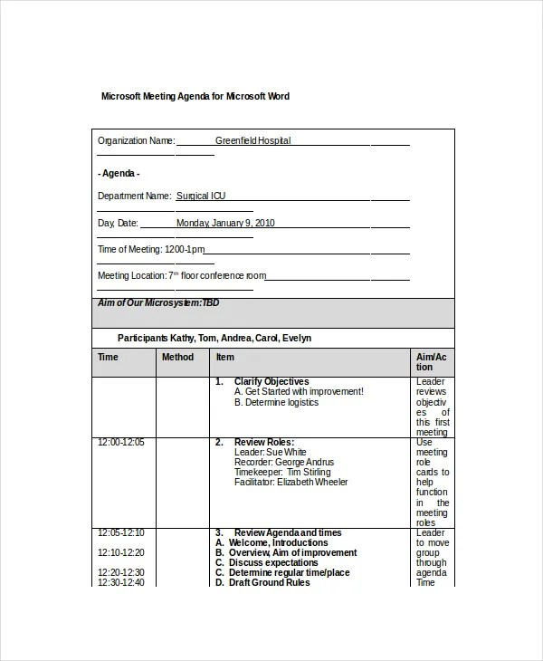 12+ Microsoft Meeting Agenda Templates \u2013 Free Sample, Example Format