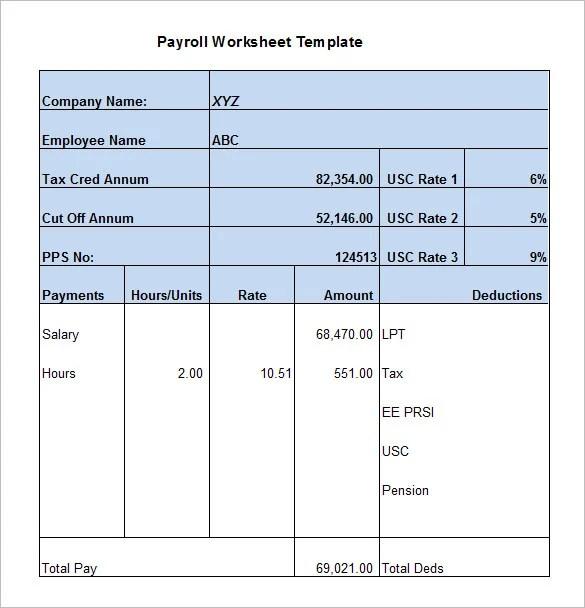 5+ Payroll Worksheet Templates \u2013 Free Excel Documents Download