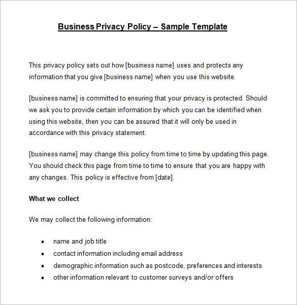 10+ Privacy Policy Templates - PDF, DOC Free  Premium Templates
