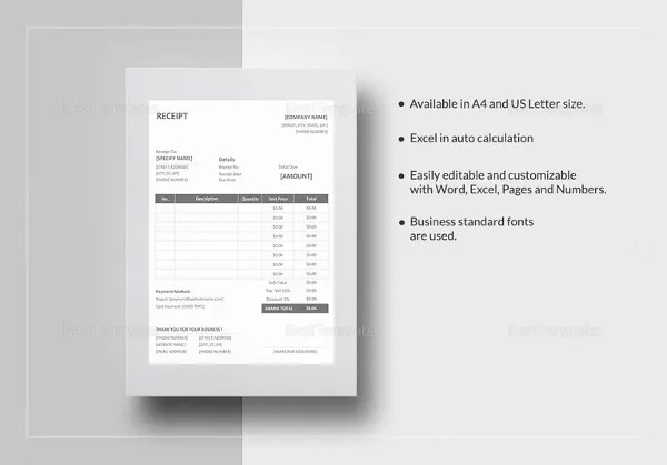 Receipt Template - 199+ Free Sample, Example, Format Download Free
