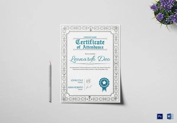 Attendance Certificate Templates - 24+ Free Word, PDF Documents - attendance certificate template free