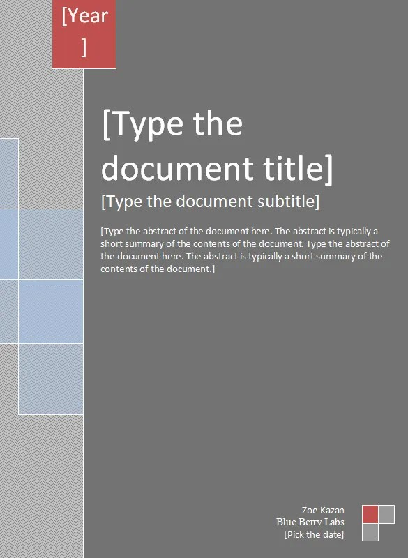 Report Cover Templates \u2013 5 Free Word Documents Download Free