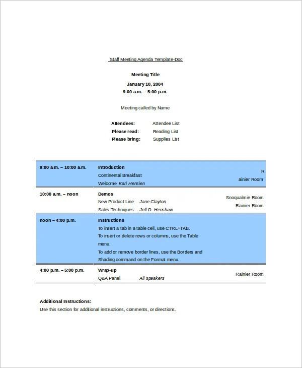11+ Blank Meeting Agenda Templates \u2013 Free Sample, Example Format