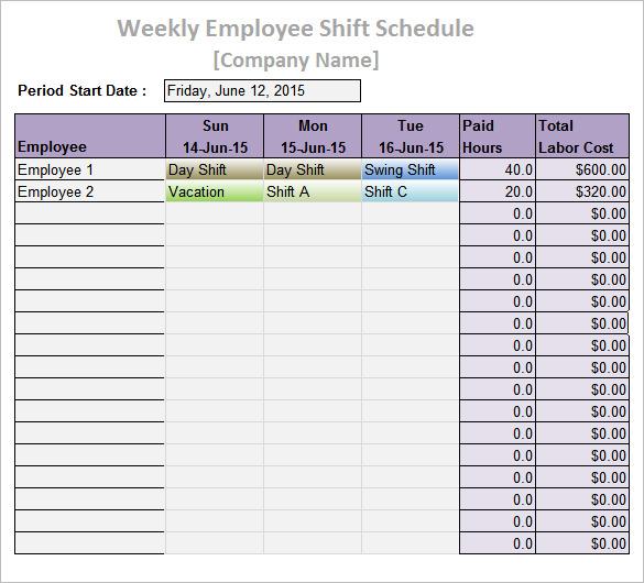 Work Schedule Templates \u2013 9+ Free Word, Excel, PDF Format Download - shift schedule template