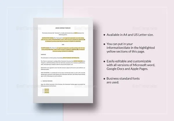 14+ Service Contract Templates - PDF, DOC Free  Premium Templates - service contract in word
