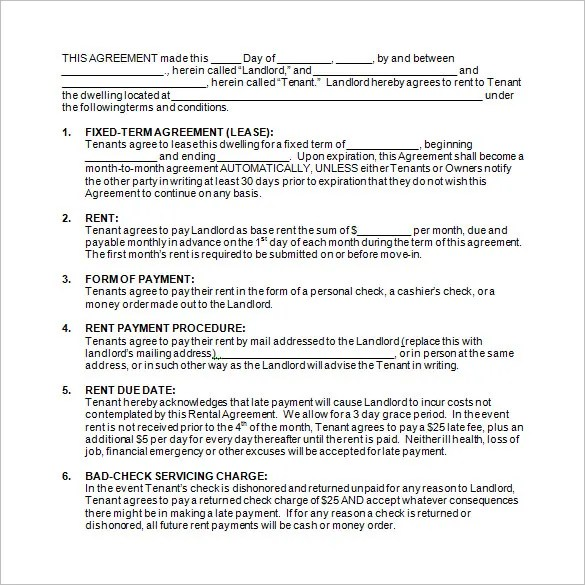 12+ Rental Contract Templates - Free PDF, Word Documents Download - monthly payment contract template