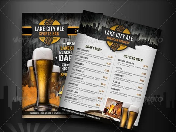 Free Bar Menu Templates - Costumepartyrun - Free Drink Menu Template
