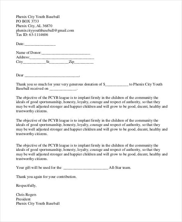 Thank You Letter for Donation \u2013 9+ Free Word, Excel, PDF Format