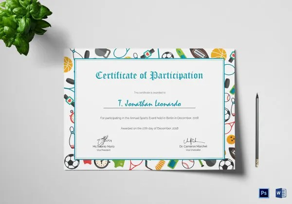 25+ Participation Certificate Templates - PDF, DOC, PSD F Free