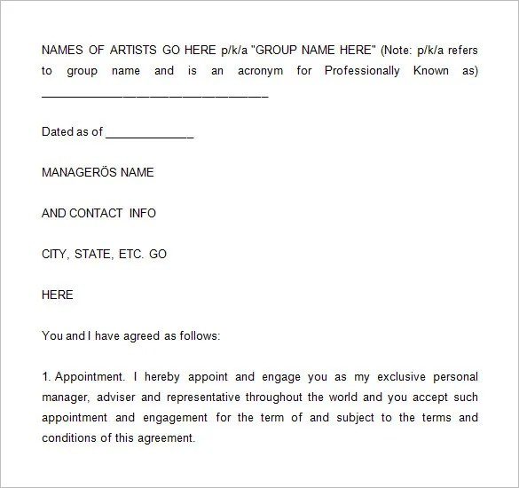 manager artist contract