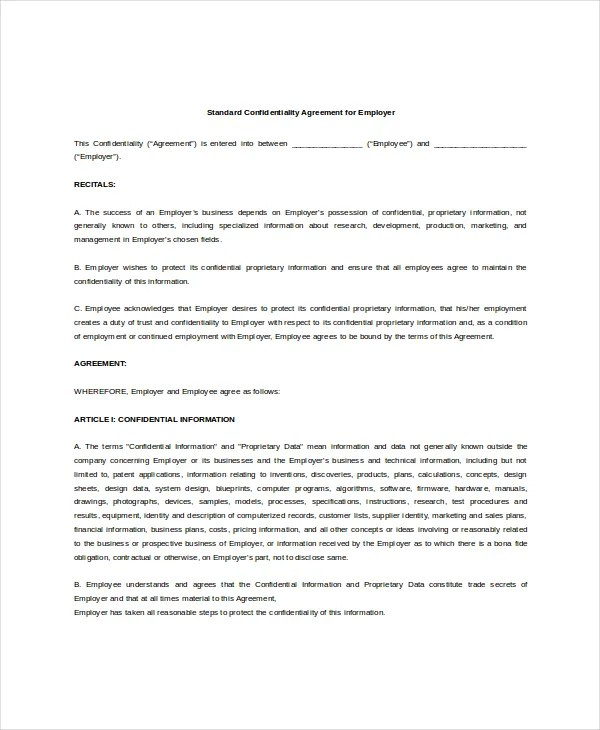 Standard Confidentiality Agreement \u2013 6+ Free Word, PDF Documents - standard confidentiality agreement