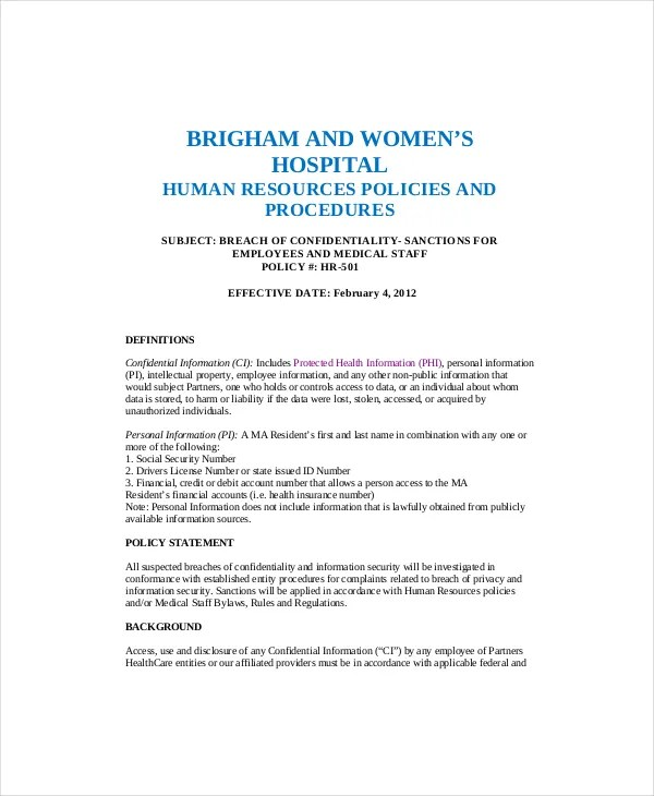 10+ Human Resources Confidentiality Agreement Templates \u2013 Free - financial confidentiality agreements