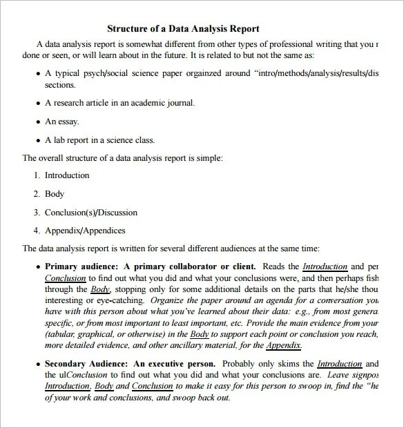 Data Analysis Report Templates - PDF, Word, pages Free  Premium