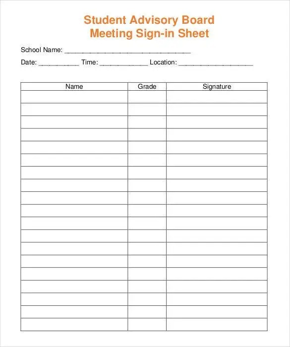 Sign In Sheet Templates - 52+ Free Word, Excel, PDF Documents - meeting sign in sheet templates