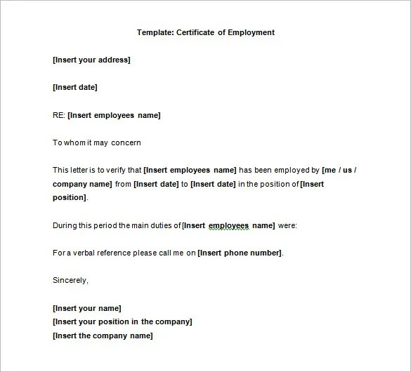 Employment Certification Letter Request – Sample Employment Certification