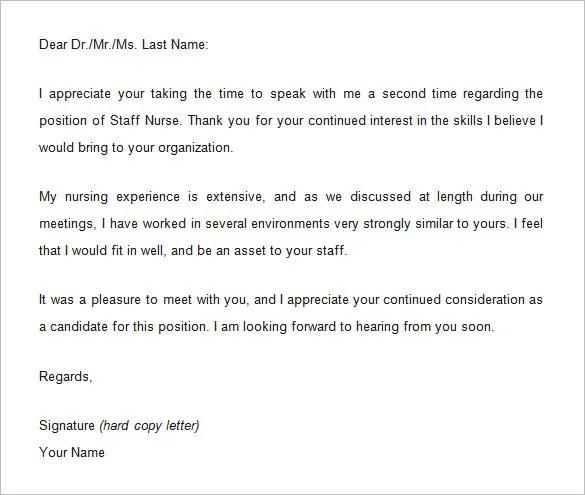 9+ Thank You Email Template After Interview \u2013 Free Samples, Examples - nursing interview thank you letter