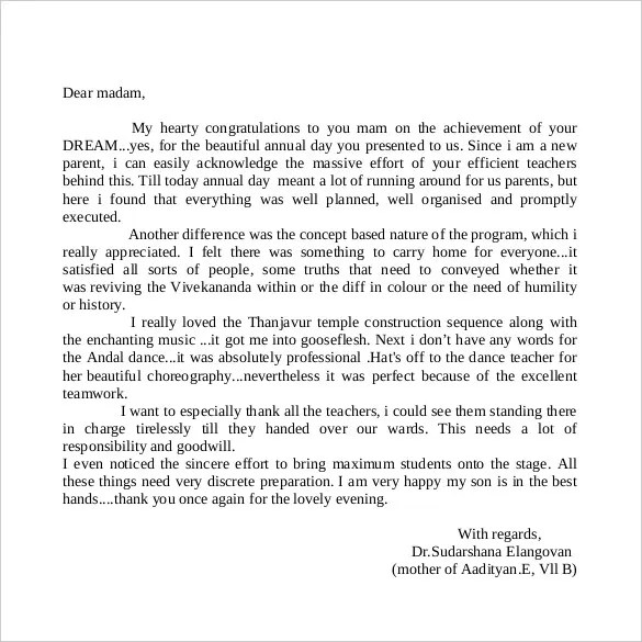Thank You Letter to Teacher \u2013 10+Free Word, Excel, PDF Format