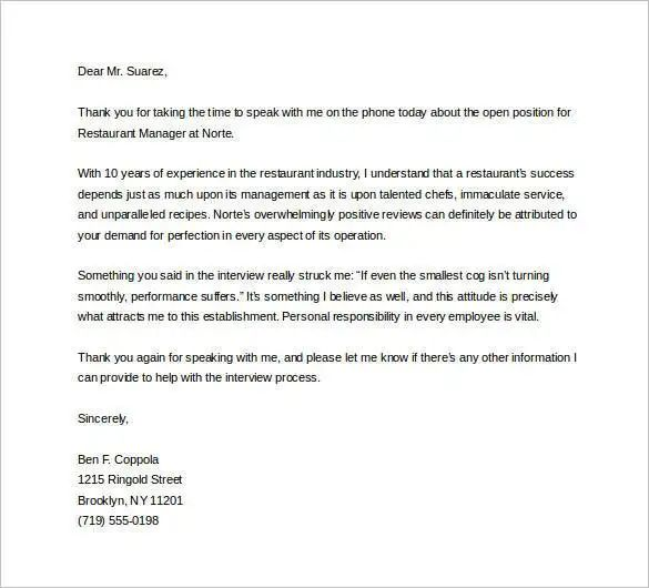 sample letter of thanks for interview
