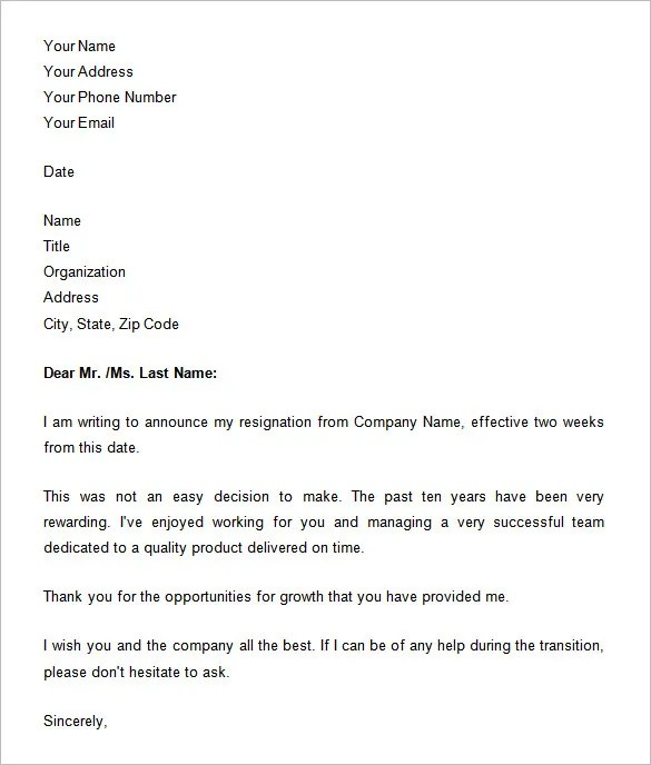 33+ Two Weeks Notice Letter Templates - PDF, DOC Free  Premium - two weeks template