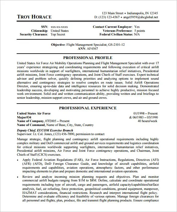 Federal Resume Template \u2013 10+ Free Samples, Examples, Format - civilian nurse sample resume