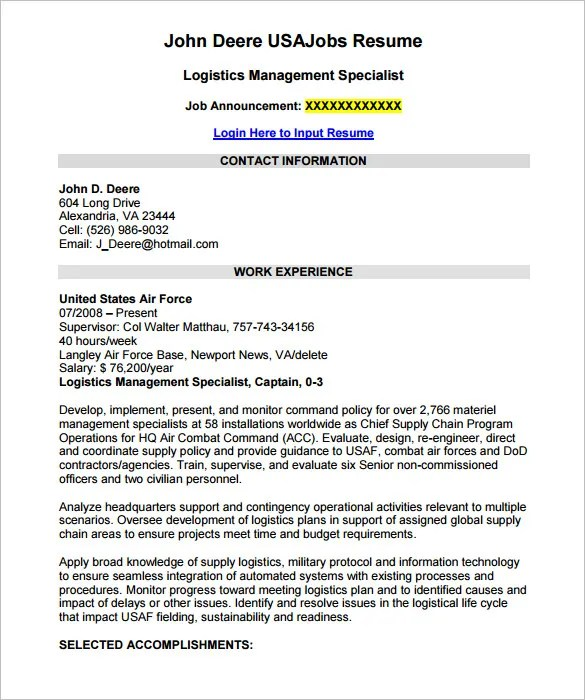 Federal Resume Template \u2013 10+ Free Samples, Examples, Format - resume for jobs examples