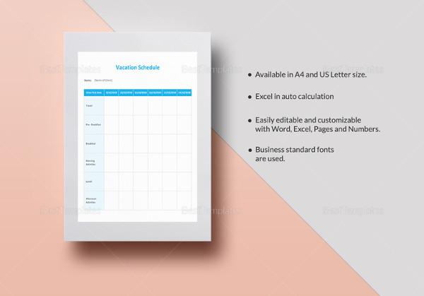 9+ Vacation Schedule Templates - DOC, Excel, PDF Free  Premium
