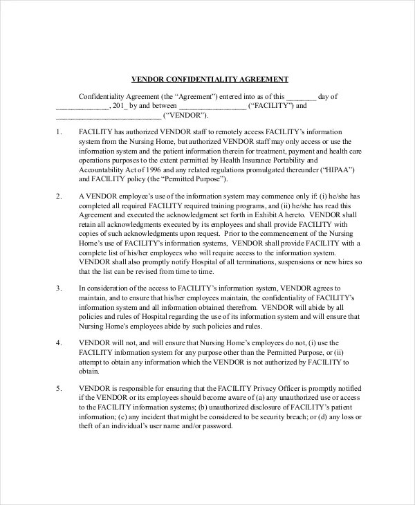 Vendor Confidentiality Agreement \u2013 10+ Free Word, PDF Documents - vendor confidentiality agreement