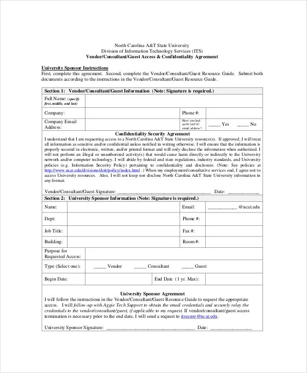 Vendor Confidentiality Agreement - 8+ Free Word, PDF Documents