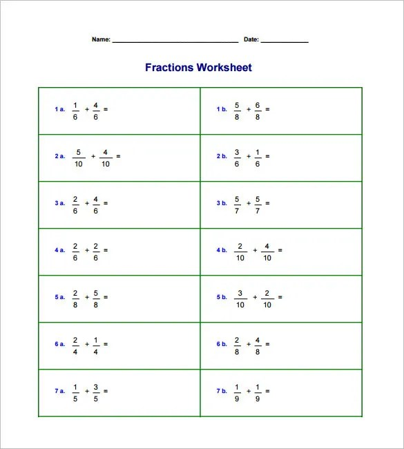 15+ Adding And Subtracting Fractions Worksheets \u2013 Free PDF Documents