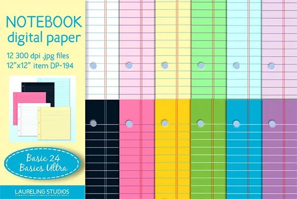 13+ Notebook Paper Templates \u2013 Free EPS, PDF, Illustrator Files - notebook paper download