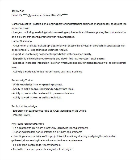 healthcare business analyst resume examples