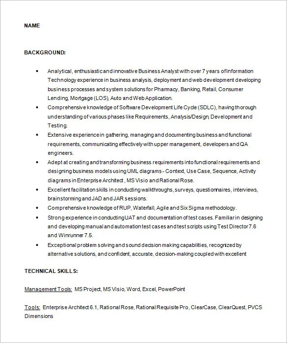 Business Analyst Resume Template \u2013 15+ Free Samples, Examples - agile business analyst sample resume