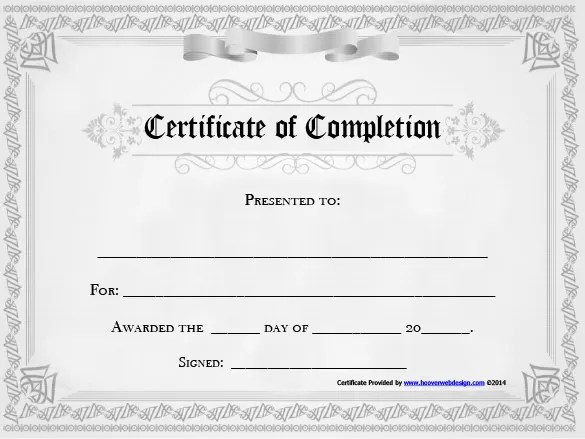 free templates for certificates of completion - Doritmercatodos