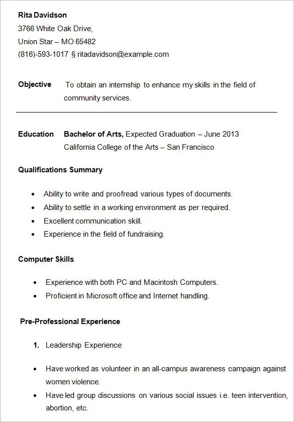 10+ College Resume Template, Sample, Examples Free  Premium Templates - resume templates for college students