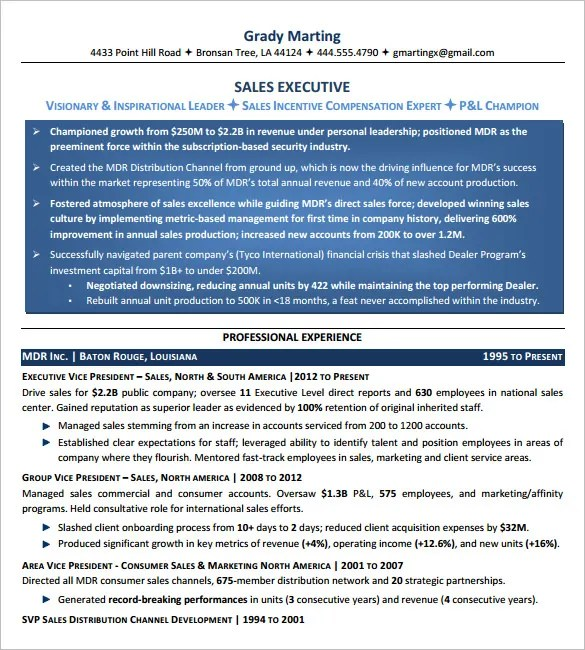 10+ Executive Resume Templates u2013 Free Samples, Examples, \ Formats - resume for executives