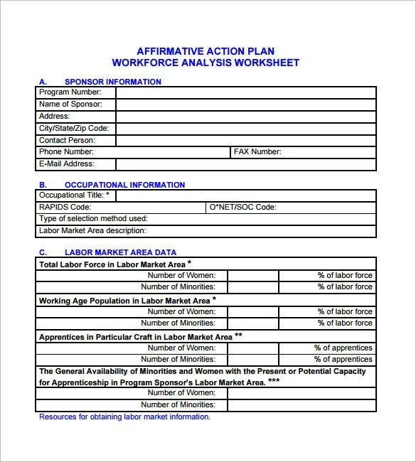 Affirmative Action Plan Template - 5+ Free Word, Excel, PDF Format