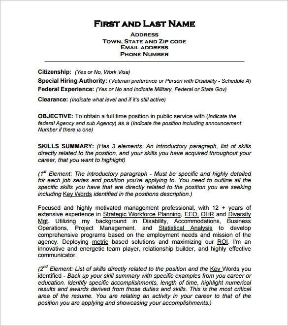 Federal Resume Template \u2013 10+ Free Samples, Examples, Format - federal government pharmacist sample resume